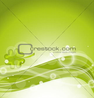 Abstract line background with clover for St. Patrick's Day