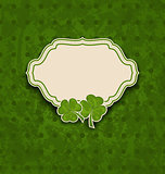 holiday card with clovers for St. Patrick's Day