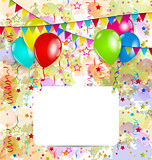 Modern birthday greeting card with balloons and confetti