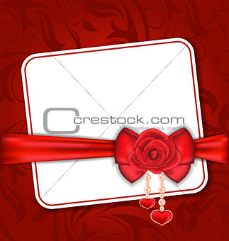 Beautiful card for Valentine Day with red rose and bow