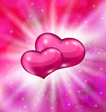 Shimmering background with beautiful hearts for  Valentine day