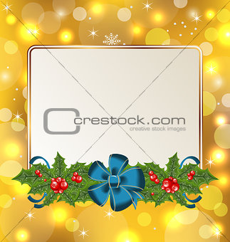 Christmas cute card with mistletoe and bow