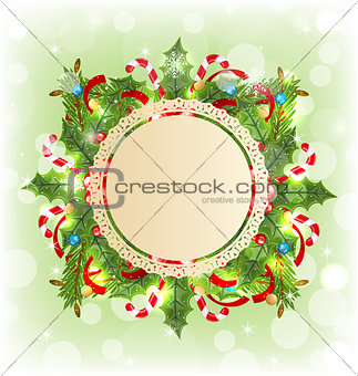 Christmas holiday decoration with greeting card