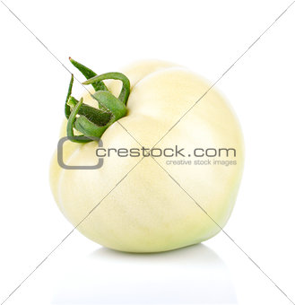 Single unripe tomato fruit