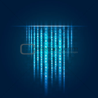 Glowing figures and circles. Hi-tech background