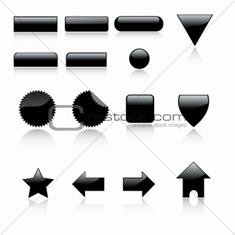 3d web 2 icons set with reflection