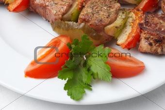 grilled kebab with vegetables