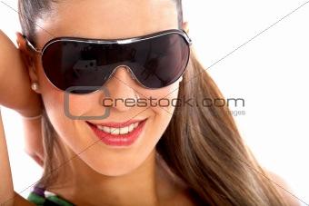 smiling woman portrait - sunglasses