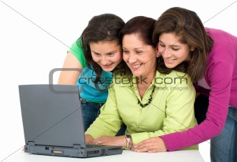 family on a laptop