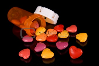 Candy hearts and Prescription bottle