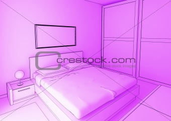 bedroom cartoon style