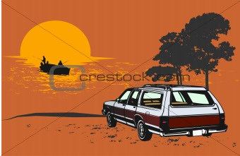 Classic car vector illustration