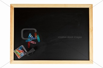 Chalkboard with paperclips
