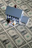 Toy house on money