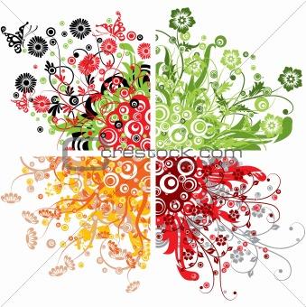 Floral backgrounds, vector