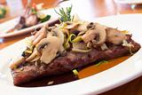 Grilled Beef Steaks with Mushrooms