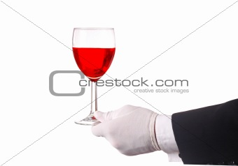 Waiter with Glass of Red Wine