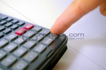 Finger pressing calculator key