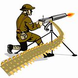 Soldier firing a machine gun