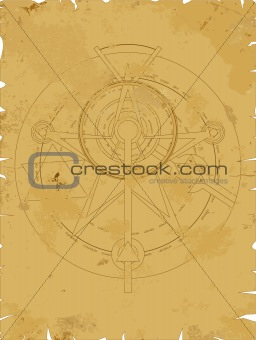Old scroll with alchemy pentagram