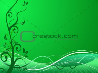 Green wallpaper of abstract vector grunge floral theme