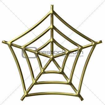 3D Golden Spider Web
