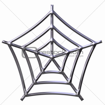 3D Silver Spider Web