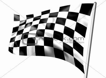 Rippled black and white chequered flag on pole