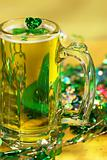 Green shamrock and beer