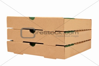 Three pizzas boxes
