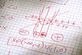 hand written maths calculations in red