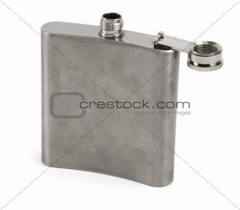 single hip flask against white