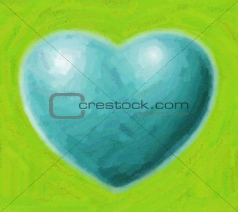 Blue painted heart
