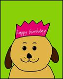 Happy Birthday dog with a crown