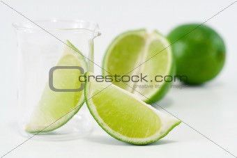 Green lime setup with chemical research recipient