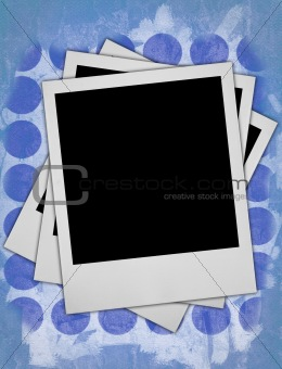 three blank photo frames