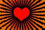 Red burning heart with fire rays