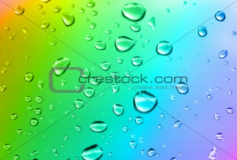 multicolored water drops
