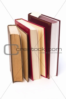 three books standing
