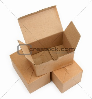 three cardboard boxes