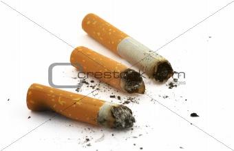 three cigarette butts