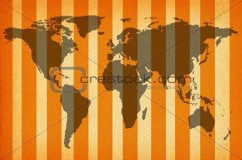 world map on striped paper