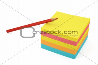 adhesive notes and crayon
