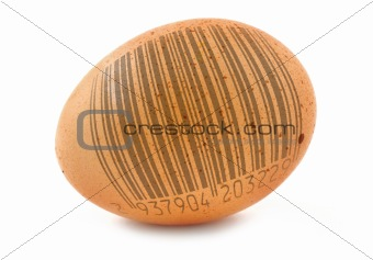 free-range egg with bar code