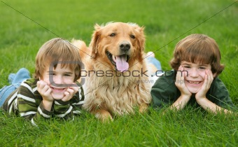 Two Boys and a Dog
