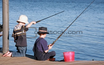 Boys Fishing off Pier