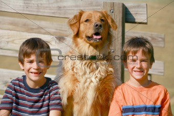 Boys and Dog