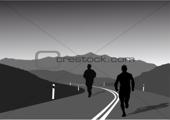 sportsmen running on a mountain