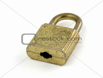 old padlock on white