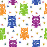 Colourful owl and stars seamless pattern
